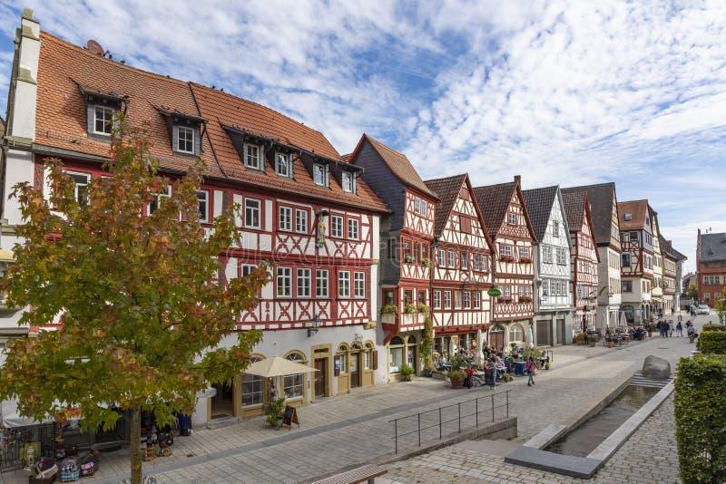 Downtown Ochsenfurt in Bavaria with half-timbered houses. Old half timbered houses in Ochsenfurt, Germany stock photography