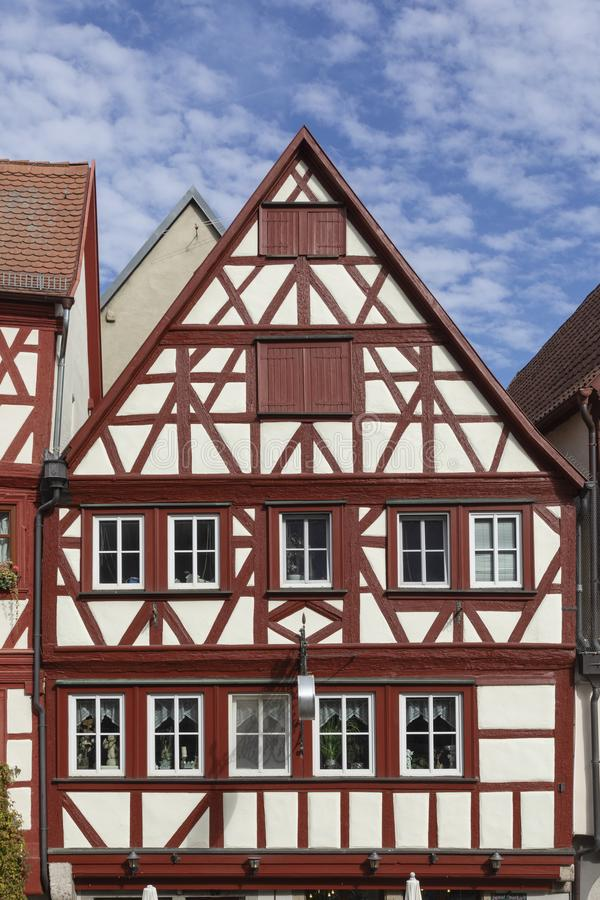 Downtown Ochsenfurt in Bavaria with half-timbered houses. Old half timbered houses in Ochsenfurt, Germany royalty free stock image