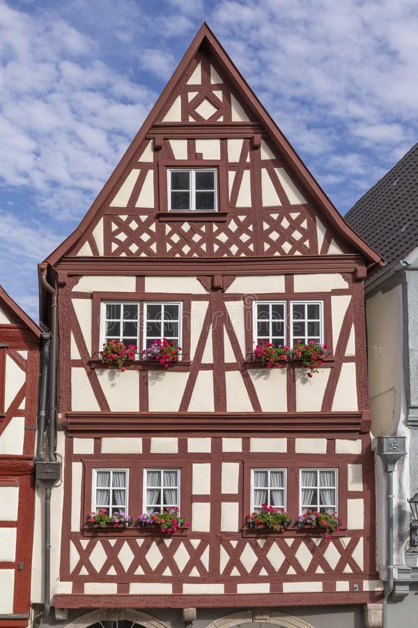 Downtown Ochsenfurt in Bavaria with half-timbered houses. Old half timbered houses in Ochsenfurt, Germany stock photos