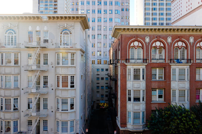 Downtown Old Buildings SF stock photos