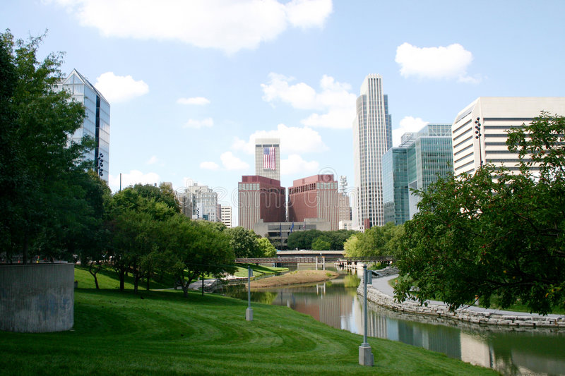Downtown Omaha. A view of Downtown Omaha from central park stock images