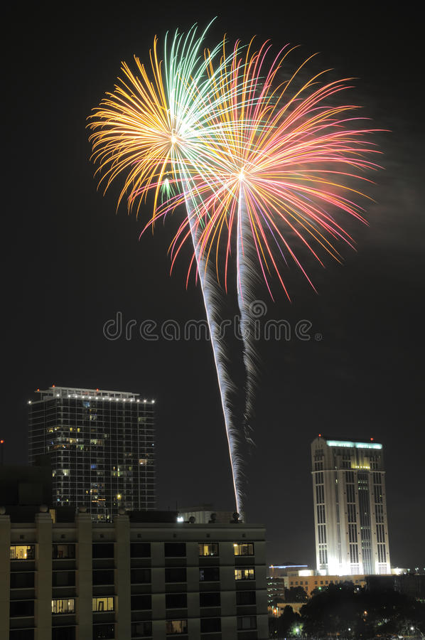 Downtown Orlando Fireworks royalty free stock images