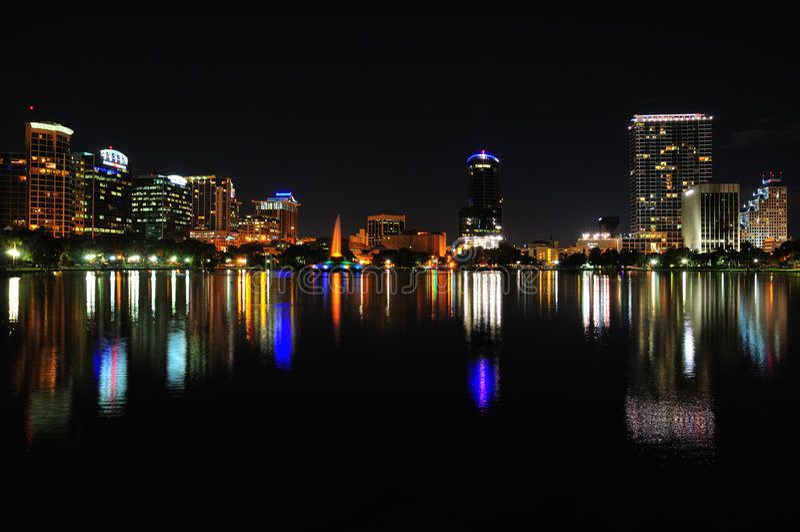 Downtown Orlando At Night. Night shot of Downtown Orlando, Florida from Lake Eola royalty free stock photography