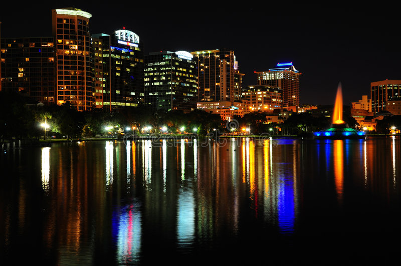 Downtown Orlando At Night. South west corner of Lake Eola in Downtown Orlando. Current skyline with no construction as of November 2008 stock photo