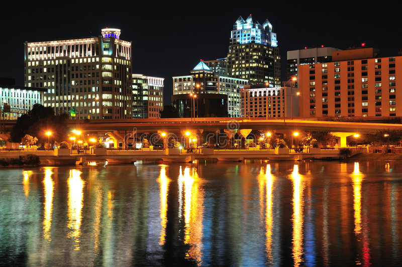 Downtown Orlando At Night. Night shot of downtown Orlando from Lake Lucerne royalty free stock images