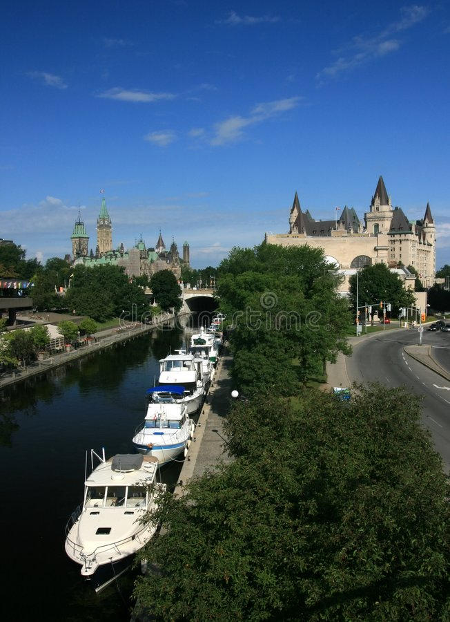 Downtown Ottawa with Boats royalty free stock photo