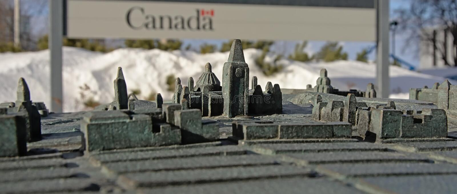 Downtown of Ottawa as a bronze maquette, selective focus. Downtown of Ottawa, capital of Canada as a bronze maquette, found in several places in the city stock photo