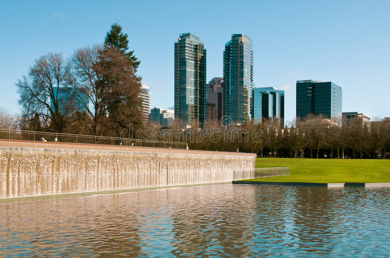 Downtown park of Bellevue. At the sunny day royalty free stock photography