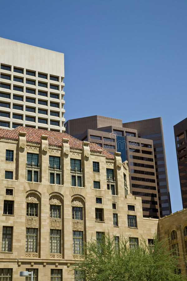 Downtown Phoenix Arizona. Skyline photograph showing buildings from various eras royalty free stock images