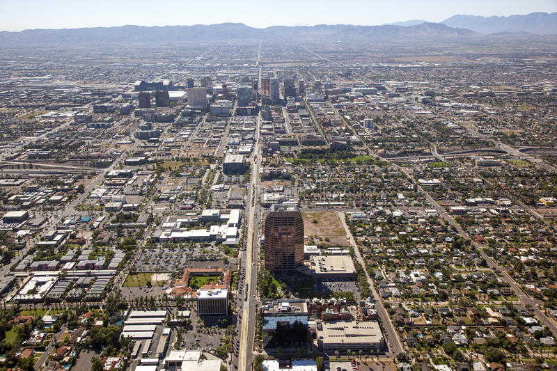 Downtown Phoenix, Arizona. Skyline viewed from helicopter looking south royalty free stock photography