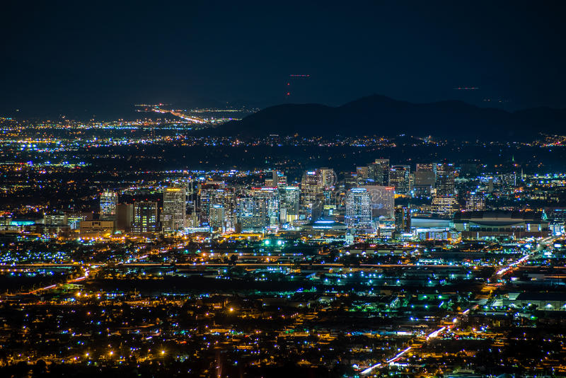 Downtown Phoenix at Night. A view of downtown Phoenix, Arizona at night. Photo taken on August 9, 2017 stock photos