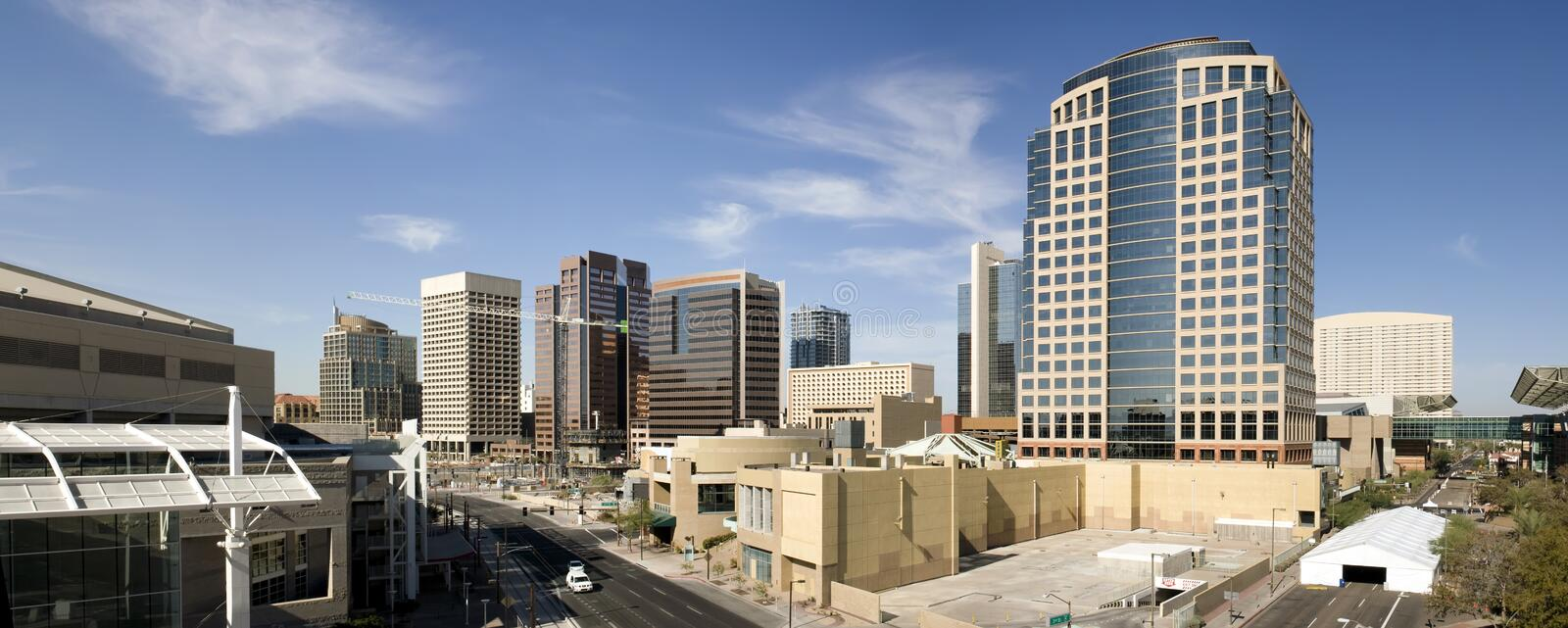 Downtown Phoenix Office Buildings Panorama. Downtown Phoenix Arizona modern buildings at city crossroads stock photos