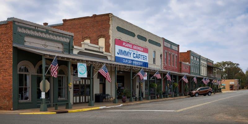 Downtown Plains. Main Street in downtown Plains, Georgia stock image