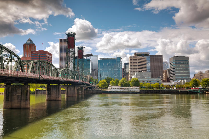 Downtown Portland cityscape. On an overcast day stock image