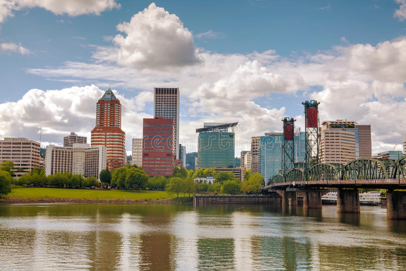 Downtown Portland cityscape. On an overcast day royalty free stock image