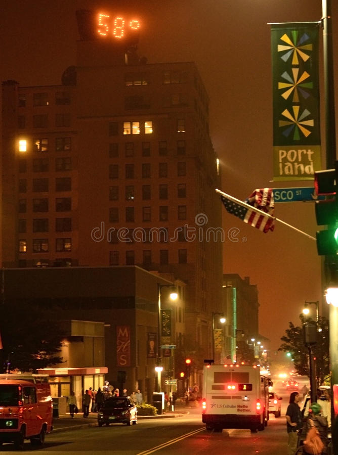 Downtown portland Maine temprature stock images