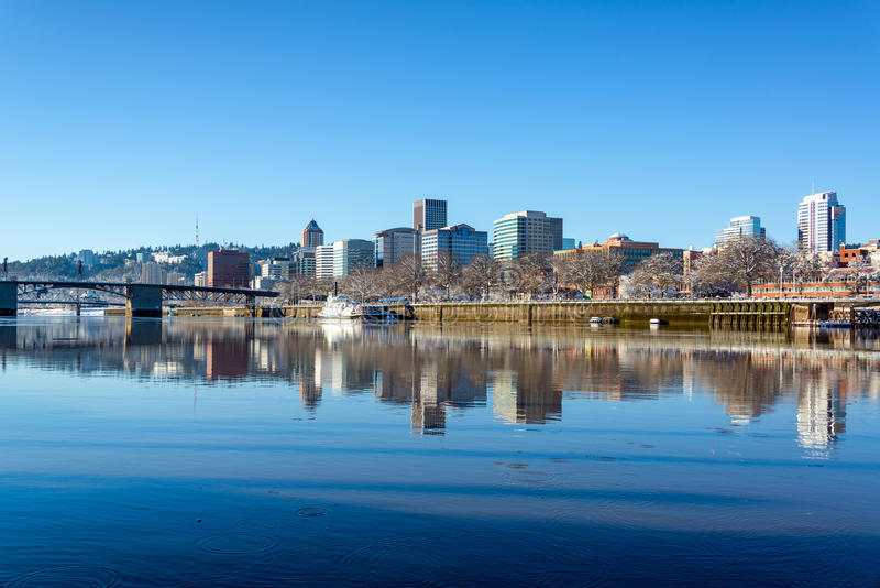 Downtown Portland Reflection. View of downtown Portland, Oregon with a beautiful reflection in the Willamette River stock photography