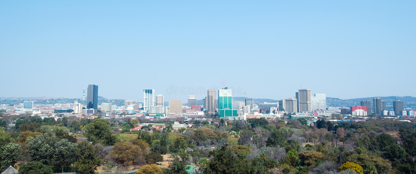 Downtown Pretoria, Gauteng, South Africa. A panoramic image of of the centre of Pretoria, Gauteng, South Africa. There are a huge amount of trees in Pretoria royalty free stock image