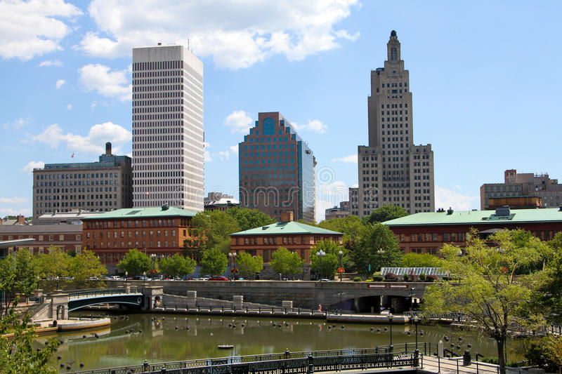 Downtown Providence, Rhode Island. Waterplace Park and the downtown Providence Skyline. (2016 royalty free stock photography