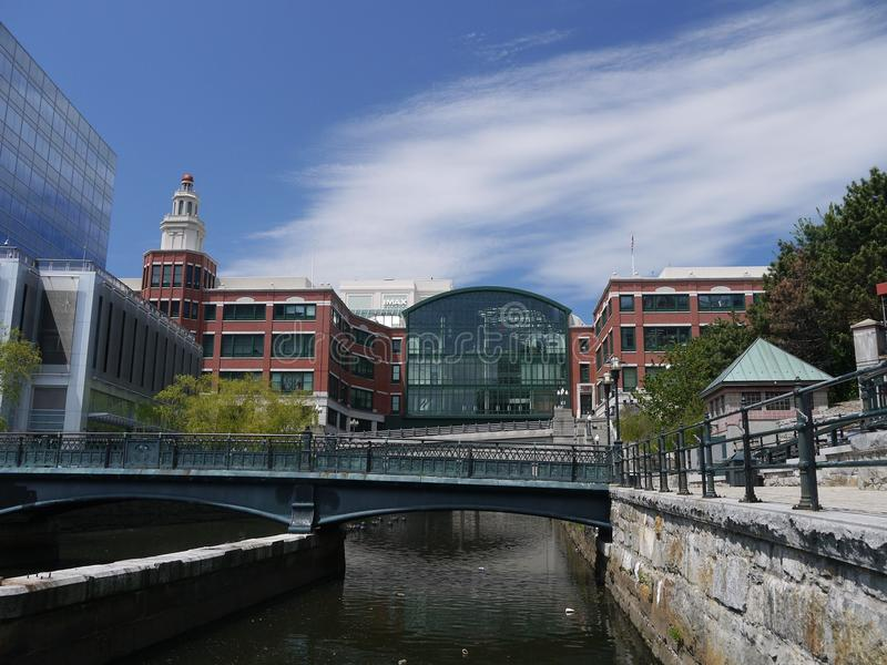 Downtown Providence, RI. The Providence River is a great place to take a stroll from and around downtown royalty free stock photo