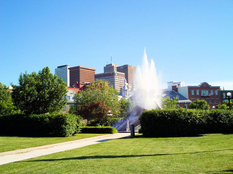 Downtown of quebec city, canada. A sunshine day in the downtown of quebec city, canada on royalty free stock images