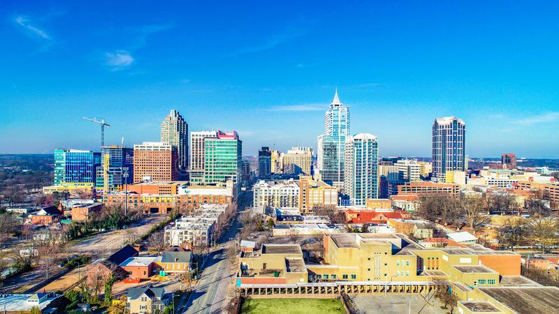 Downtown Raleigh, North Carolina, USA Drone Skyline Aerial. Downtown Raleigh, North Carolina, USA Skyline Aerial stock images