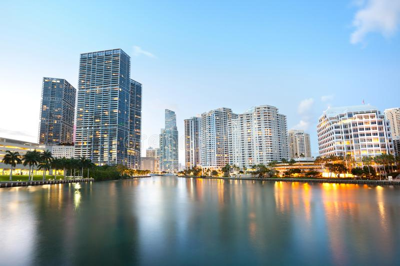 Downtown and real estates developments at Brickell Key stock image