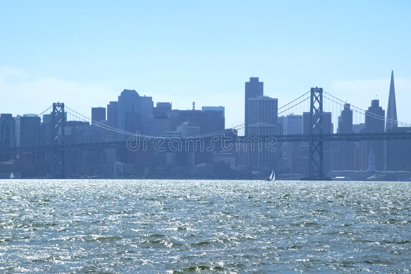 Downtown San Francisco from across San Francisco Bay stock photography