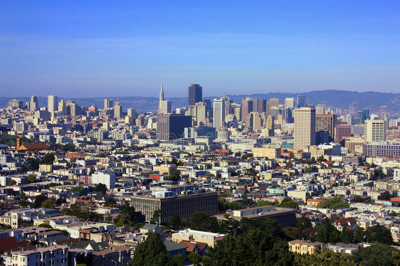 Evening Sun on Downtown San Francisco from Buena Vista Park, California, United States. The higher elevations of Buena Vista Park offer sweeping views over royalty free stock photo