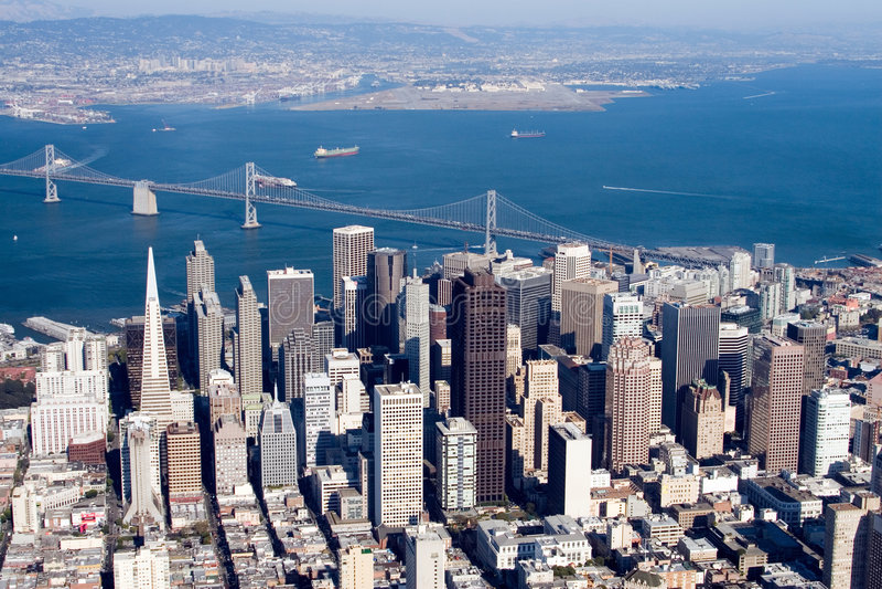 Downtown San Francisco, California. Aerial view of downtown San Francisco, California stock photo
