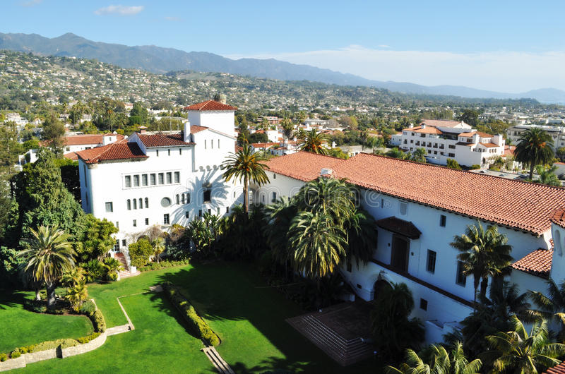 Downtown Santa Barbara. Courthouse Backyard, Spanish Colonial Revival Architecture, California royalty free stock images