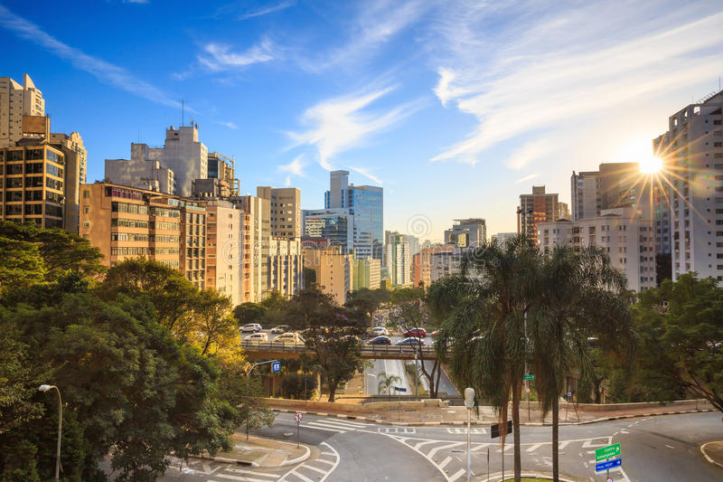 Downtown Sao Paulo in the morning stock photography