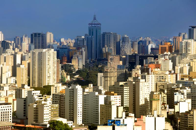 Downtown Sau Paulo in Brazil. Aerial view royalty free stock image