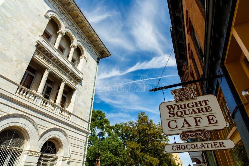 Downtown Savannah cityscape royalty free stock image