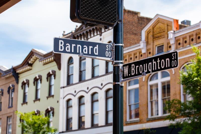 Downtown Savannah cityscape stock image