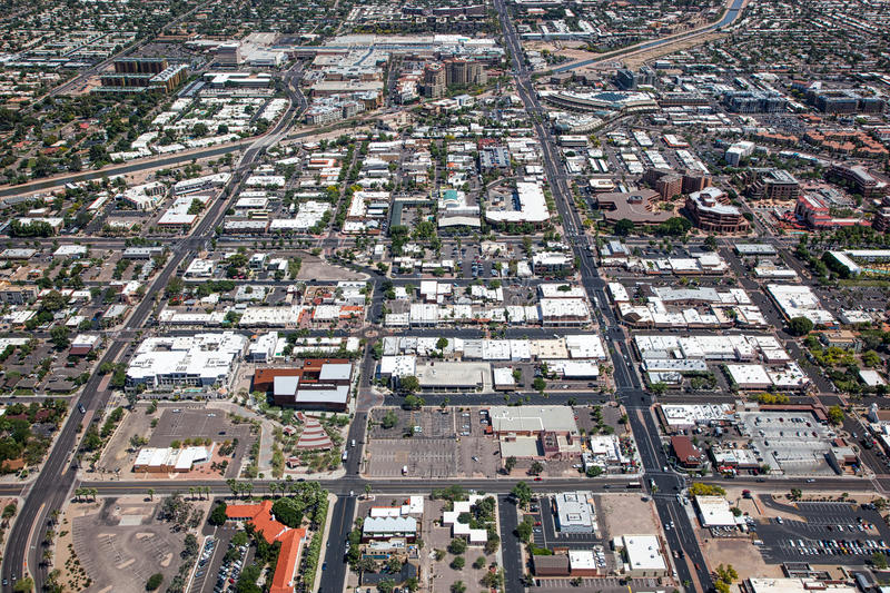 Downtown Scottsdale, Arizona. Aerial view of Downtown Scottsdale, Arizona looking south to north royalty free stock images