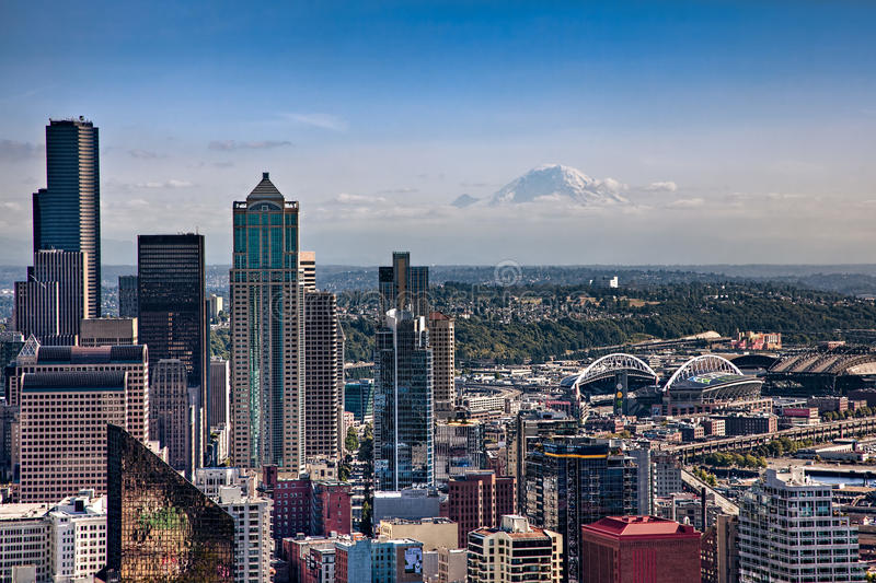 Downtown Seattle and Mount Rainier stock photography