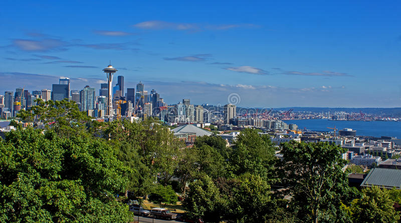 Downtown Seattle skyline with Harbor in Washington State USA. View of Downtown Seattle skyline including the Harbor in Washington State USA. The Space Needle is stock images