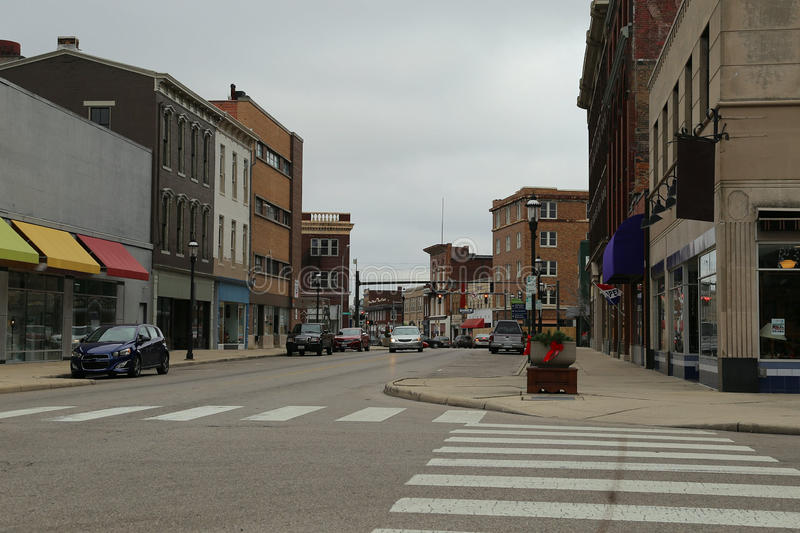 Downtown Section of Small Midwest USA City. The older, downtown section of a small city in the USA Midwest is shown during a cloudy day stock photos