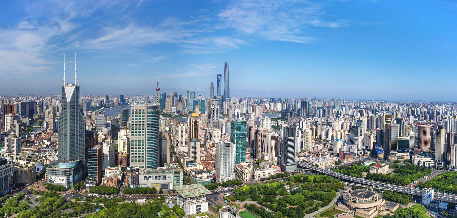 Downtown Shanghai royalty free stock photos