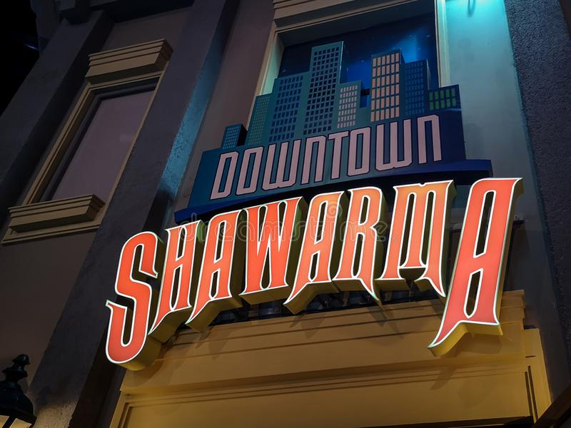 Downtown Shawarma - restaurant sign of Middle Eastern traditional food royalty free stock photo