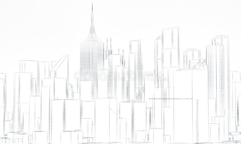 Download Downtown sketch stock illustration. Image of high, buildings - 25555075
