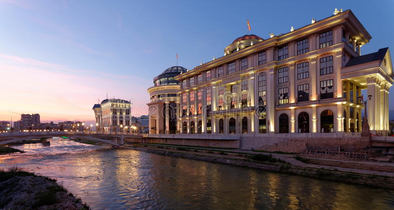 Downtown of the Skopje, Macedonia. Winter. Sunset stock photography