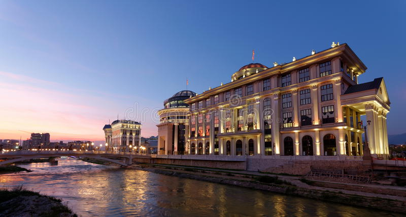 Downtown of the Skopje, Macedonia. Winter. Sunset royalty free stock image