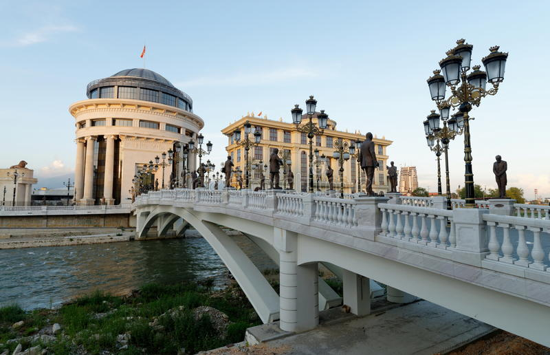 Downtown Skopje, Ministry of Foreign Affairs and the Financial Police stock images