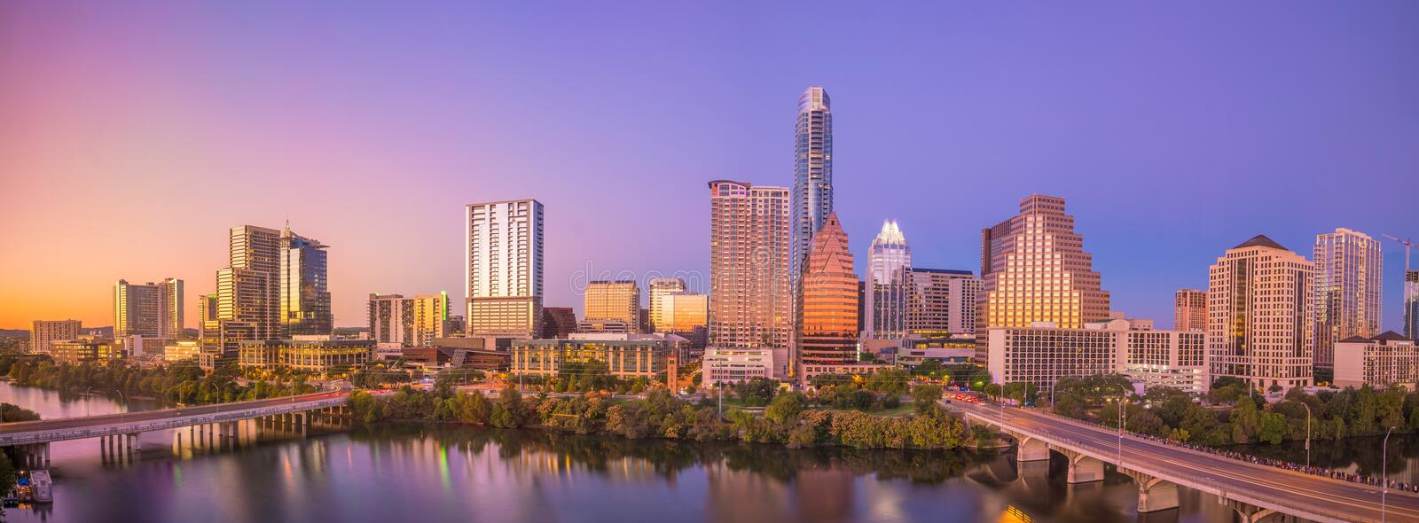 Downtown Skyline of Austin, Texas. In USA royalty free stock photos