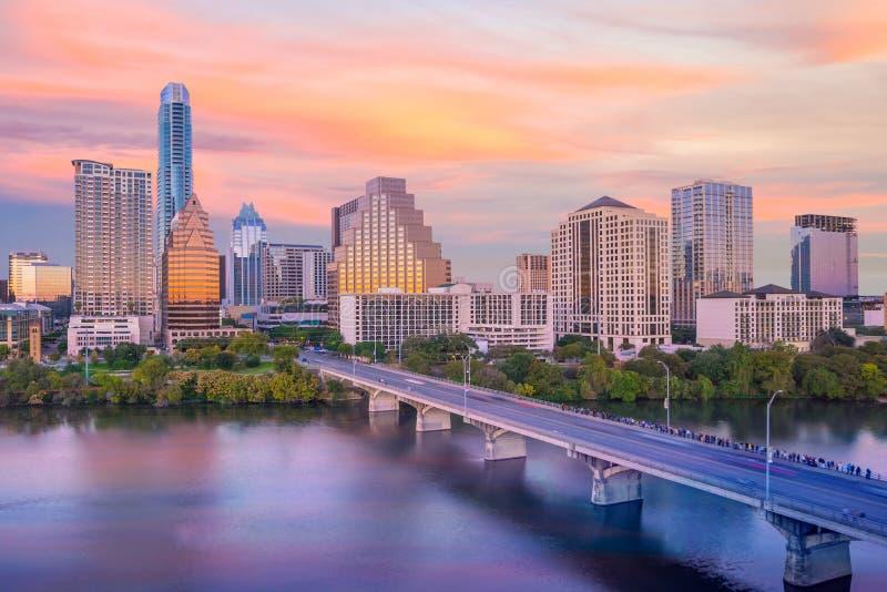 Downtown Skyline of Austin, Texas. In USA stock photo