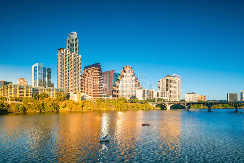 Downtown Skyline of Austin, Texas. In USA stock photography