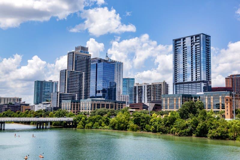 Downtown skyline of Austin, Texas, the USA. Colorado River stock photo