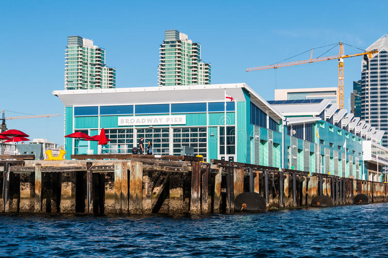 Downtown Skyline with Cruise Ship Terminal in San Diego stock photography